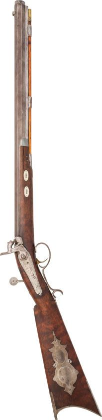 A half stocked percussion target rifle crafted by Joseph Golcher, mid 19th century.