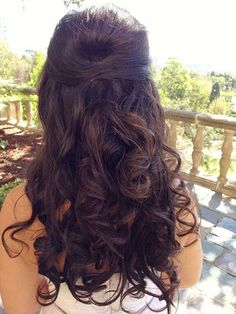 Half Up Brunette Curly Hairstyles