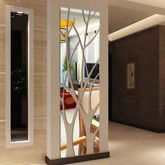 Modern mirror style removable decal tree art mural wall stickers home room decoration - Interior Design Living Room Partition Design, Room Partition Designs, Mirror Wall Stickers, Wall Stickers Home Decor, Room Stickers, Ceiling Design, Wall Design, Modern Mirror Design, Modern Wall
