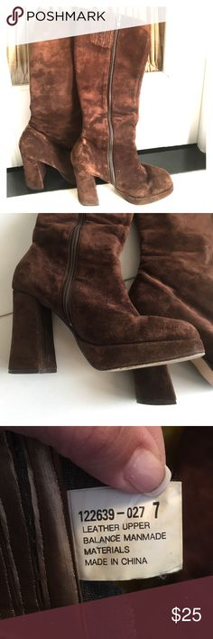 """Beautiful Brown Suede Up-To-The-Knee Boot Simply beautiful brown suede-like material up-to-the-knee boot with approx 4"""" thick heel. Leather upper balance manmade material. So comfortable! Gently worn. Smoke/pet free environment. Colin Stuart Shoes Heeled Boots"""
