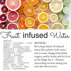 Fruit Infused Water Recipes. Water is #1 skin detoxifier. With this list you can add more antioxidants, make it more fun and in turn get two...
