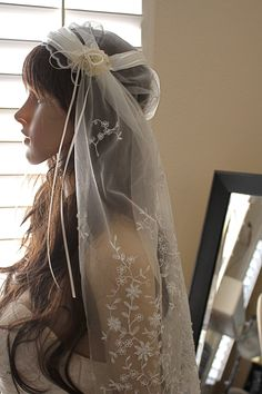 Elbow Length Bridal Cap Juliet Veil with Organza ribbon and Embroidered Lace by Vegas Veils