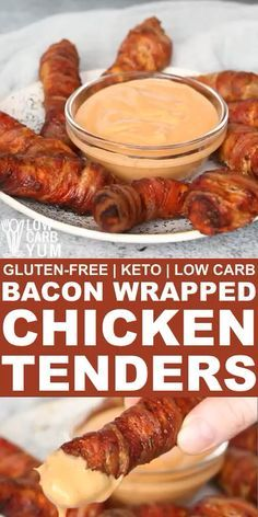 recipes videos These oven baked bacon wrapped chicken tenders are always a hit as appetizers or main dish. The bacon keeps the meat juicy and provides added flavor. // bacon recipes // bacon food // chicken with bacon // bacon and chicken recipes // Baked Bacon Wrapped Chicken, Oven Baked Bacon, Chicken Bacon Wrap, Bacon Wrapped Asparagus, Poulet Keto, Low Carb Recipes, Healthy Recipes, Fun Recipes, Burger Recipes