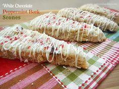 Best Scones Recipe! Made with Peppermint Bark & White Chocolate Chips, drizzled with white chocolate and candy cane pieces.