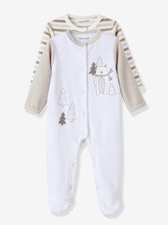 Lote de 2 pijamas em veludo, para bebé