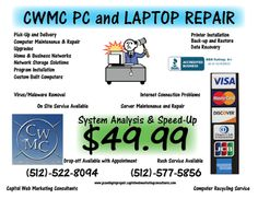 CWMC PC and LAPTOP Repair is Austin, Texas's go to professionals for  all your computer repair, networking, and security camera system needs.