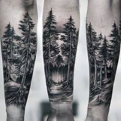 Resultado de imagem para tree silhouette tattoo