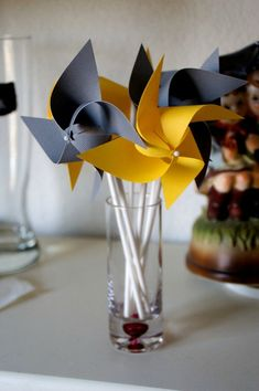 I think that grey and yellow are one of the classical schemes for wedding decor – colorful and elegant. Such a color scheme is ideal for a spring wedding when you are tired of winter and want colors so much, or for a bright summer wedding . Yellow Wedding Favors, Wedding Colors, Gender Neutral Baby Shower, Birthday Favors, Pinwheels, Cupcake Toppers, Banners, Wedding Decorations, Wedding Ideas