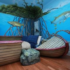 Under The Sea Bedroom With Shipwreck Boat Bed Este Eu Jamais Faria Porque Naufrágio