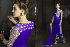 Ravishing And Stunning Party Wear Blue Gorgeous Blue #DesignerSuit With Embroidery  #CraftShopsIndia #PartyWearDress