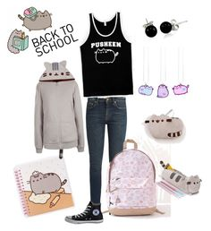 """#PVxPusheen"" by familyquintas ❤ liked on Polyvore featuring Yves Saint Laurent, Pusheen, Bling Jewelry, Converse, contestentry and PVxPusheen"