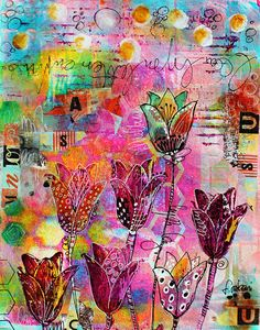 couleurs et mixed media: Un beau bouquet de tulipes pour les enchères de GYS