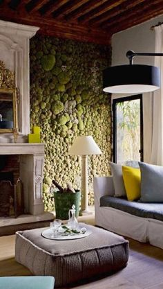 Indoor moss wall -- for atrium lounge and/or inside fireplace frame in conference room.