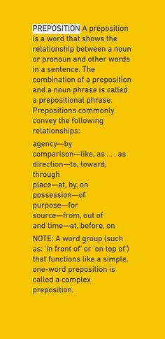 Note with content: PREPOSITION