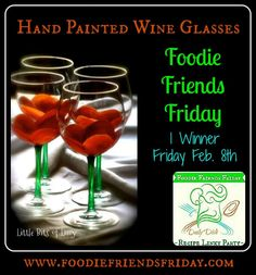 Set of 4 hand painted wine glasses  #giveaway