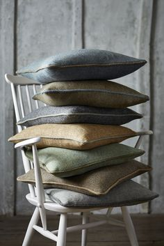 Selection of Harris Tweed cushions with contrast piping Sofa Pillows, Fabric Sofa, Floor Pillows, Throw Pillows, Country Cushions, Pillow Mat, Fabric Photography, Product Photography, Pillow Inspiration