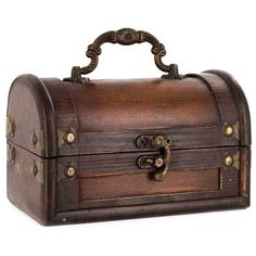 Small Red Brown Trunk Box with Handle