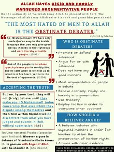 Allah hates rigid and poorly mannered argumentative people