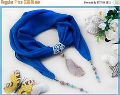 Sale Woman scarves Blue chiffon scarf with Agate pendant Scarf jewelry Scarf Necklace Spring scarf Blue Chiffon shawl Woman gift for birthda