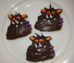 Gruffalo biscuits made with Nigella's butter cut-out biscuit recipe and covered in melted chocolate.