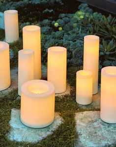 Controlled by a convenient remote, our Battery-operated Flameless Outdoor Candles create instant ambience with the touch of a button. They have a realistic, flickering glow and realistic burnt wick that create the ambience of candlelight without the mess or inconvenience.