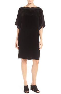 Free shipping and returns on Eileen Fisher Silk Trim Velvet Bateau Neck Shift Dress at Nordstrom.com. Dread the holiday-party season no longer! Slip into this luxurious velvet shift trimmed with soft silk along the collarbone-skimming neckline and kimono-style sleeves and you'll look fabulous and be completely comfortable at the same time. Now that's reason to celebrate.