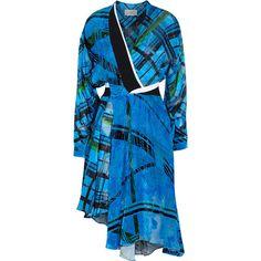 Preen by Thornton Bregazzi Seymour printed devoré-chiffon dress ($2,560) ❤ liked on Polyvore featuring dresses, blue, plaid dress, cobalt blue dress, preen dress, blue plaid dress and tartan plaid dress