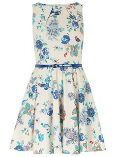 NWT Bird print flared dress - This is the same style as the Luck Be a Lady dress but this print was never sold by ModCloth. Size UK 10.
