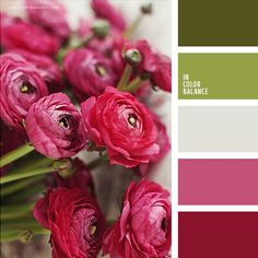 Natural combination of dark magenta, pink and shades of stems is supplemented by colour of silver. This palette can be used for a festive table decoration Color Palette For Home, Colour Pallette, Color Palate, Colour Schemes, Wedding Color Schemes, Color Patterns, Color Combinations, Wedding Colors, Green Wedding