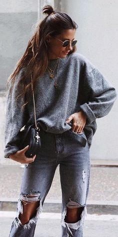 #fall #outfits grey sweater ripped jeans