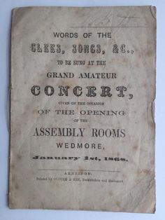 Listed on EBay 1868 Concert Programme Opening of the Assembly Rooms Wedmore Somerset 14pg