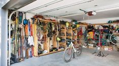 Outdoor gear storage in a garage can be troublesome; not enough room, clutter, and always having to move stuff to get at other stuff. Bikes can be hung on the wall or the ceiling of a garage when not in use by installing bikes hooks, but look at t. Bike Storage, Storage Room, Garage Storage, Camping Storage, Outdoor Storage, Surfboard Storage, Camping Equipment, Camping Gear, Family Camping
