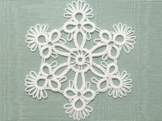 Tatted Lace Christmas Ornament Snowflake -POP Flake MTO choose your color