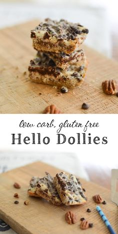 Low Carb Hello Dolly Bars with layers of coconut, pecans, and chocolate...yum.  LCHF, Banting, THM S