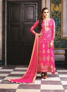 Pink Georgette Long Salwar Kameez #officewear #long #salwarkameez #suit #suitsonline #traditional #straightcut #fullsleeve #contemporary #womenwear #womenclothing #nikvik #usa #designer #australia #canada #malaysia #UAE #freeshipping price-US$80.10.Sign up and get USD100 worth vouchers.Offer is valid for limited period.