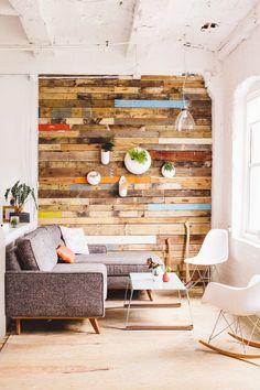 Muros de Palets o madera reciclada   La Bici Azul: Blog de decoración, tendencias, DIY, recetas y arte