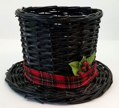 Black Top Hat Basket Christmas Holiday Large Wicker Top Opening  Centerpiece Black Top Hat, Black Tops, Christmas Baskets, Christmas Holidays, Wicker Baskets, Centerpieces, Home And Garden, Hats, Decor