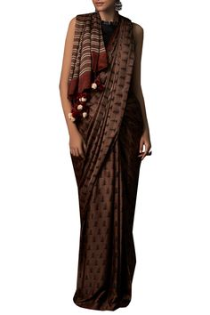 319a31cd30c Buy Hand print Ranthambore inspired sari with unstitched blouse by Anita  Dongre at Aza Fashions