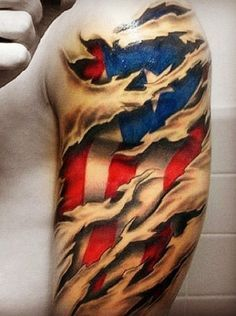 American flag under skin rip tattoo on shoulder Texas Tattoos, Patriotische Tattoos, Best Sleeve Tattoos, Badass Tattoos, Tattoo Sleeve Designs, Neck Tattoos, Tattoo Designs Men, Body Art Tattoos, Tattoos For Guys