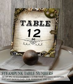 Steampunk Wedding Reception Table Numbers 112 by OddLotEmporium, $15.00