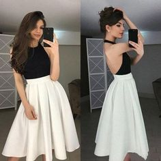 Dresses for teens - two piece white satin short school event dress black sleeveless homecoming dress backless halter evening dress party – Dresses for teens Event Dresses, Prom Party Dresses, Homecoming Dresses, Dress Party, Homecoming Ideas, Stylish Dresses, Fashion Dresses, Casual Dresses, Short Dresses