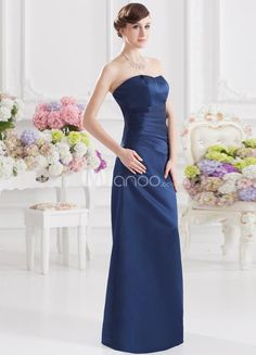 Sheath Dark Navy Satin Ruched Bridesmaid Dress For Wedding. Sheath Dark Navy Satin Ruched Bridesmaid Dress For Wedding. See More Bridesmaid Dresses at www.ourgreatshop....