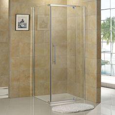 """36"""" x 36"""" Miranda Reversible Corner Shower Enclosure - Without Tray - Brushed Aluminum"""