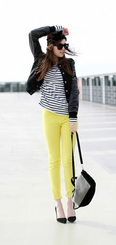 From Style Scrapbook: Yellow pants + Stripped shirt accessorized with black jacket, shoes and bags.