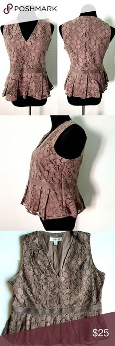 "Isaac Mizrahi Top Brown lace peplum top. Lined, side zipper closure, v neckline, ribbon decorated waist. 20"" across chest,  23"" long shoulder to bottom hem.  Preloved in great condition. Isaac Mizrahi Tops Blouses"