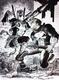 Punisher vs. Deadpool by Tony Moore Deadpool Funny, Marvel Characters, Superhero Villains, Comic Book Characters, Comic Character, Marvel Art, Marvel Dc Comics, Marvel Heroes, Comic Books Art