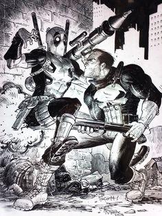 Punisher vs. Deadpool by Tony Moore