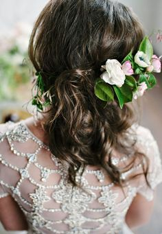 wedding dress and hairstyle