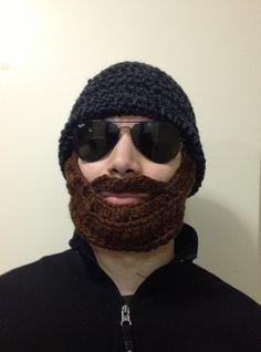 Handmade+Crochet+Beard+Hat+in+Dark+grey+and+black+by+SueStitch,+$44.99