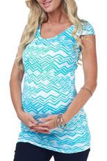 Blue Tribal Print Fitted Maternity Top